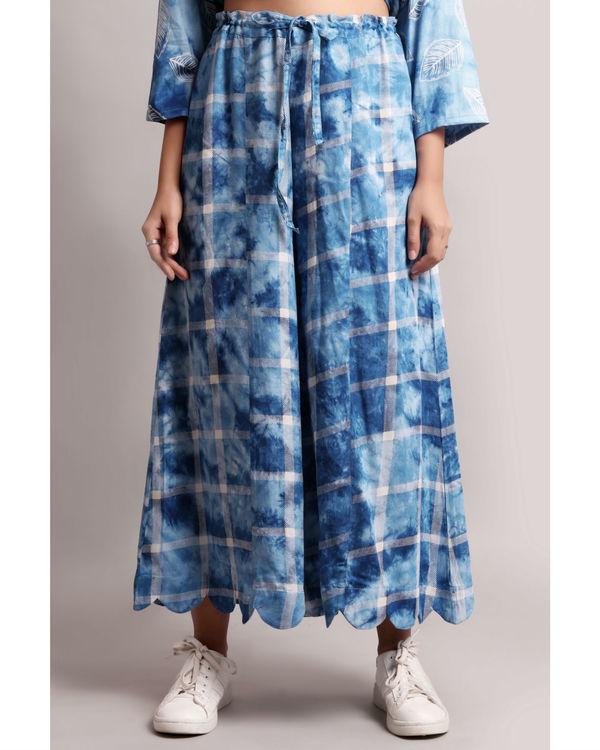 Blue scalloped culottes