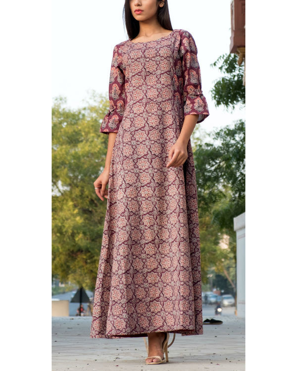 Wine ajrakh printed gown