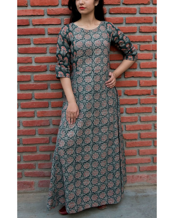 Green ajrakh printed gown