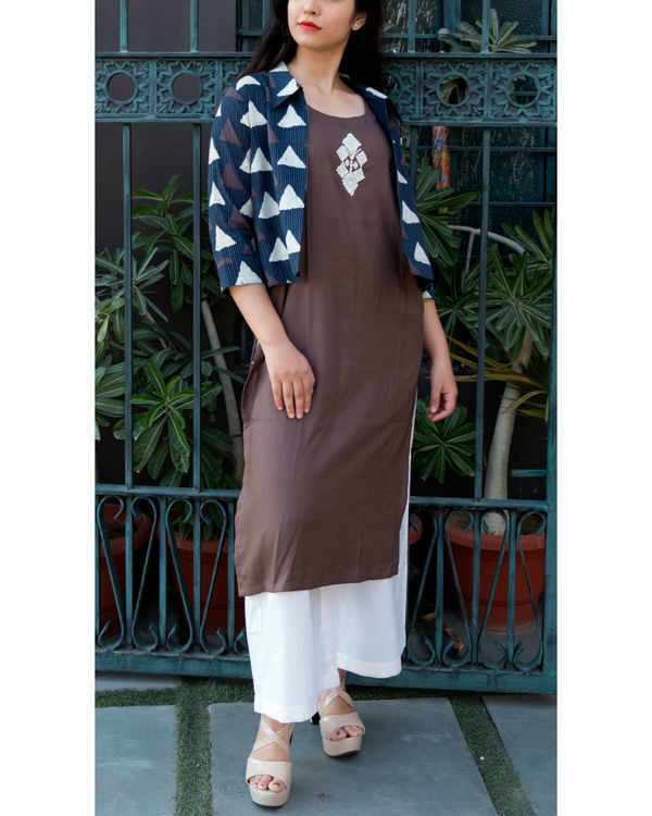 Brown embroidered tunic with kantha jacket
