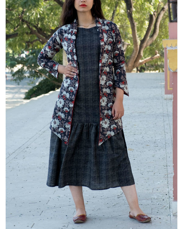 Black ajrakh kantha jacket with printed  dress