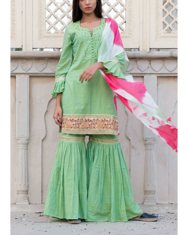 Green short kurta with sharara & stole