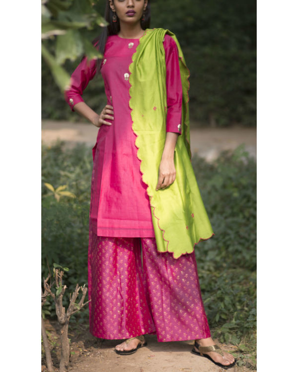 Scarlet pink tulip embroidered sharara set with lime green dupatta