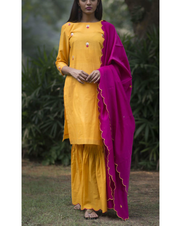 Kesari phool kurta sharara set with embroidered dupatta