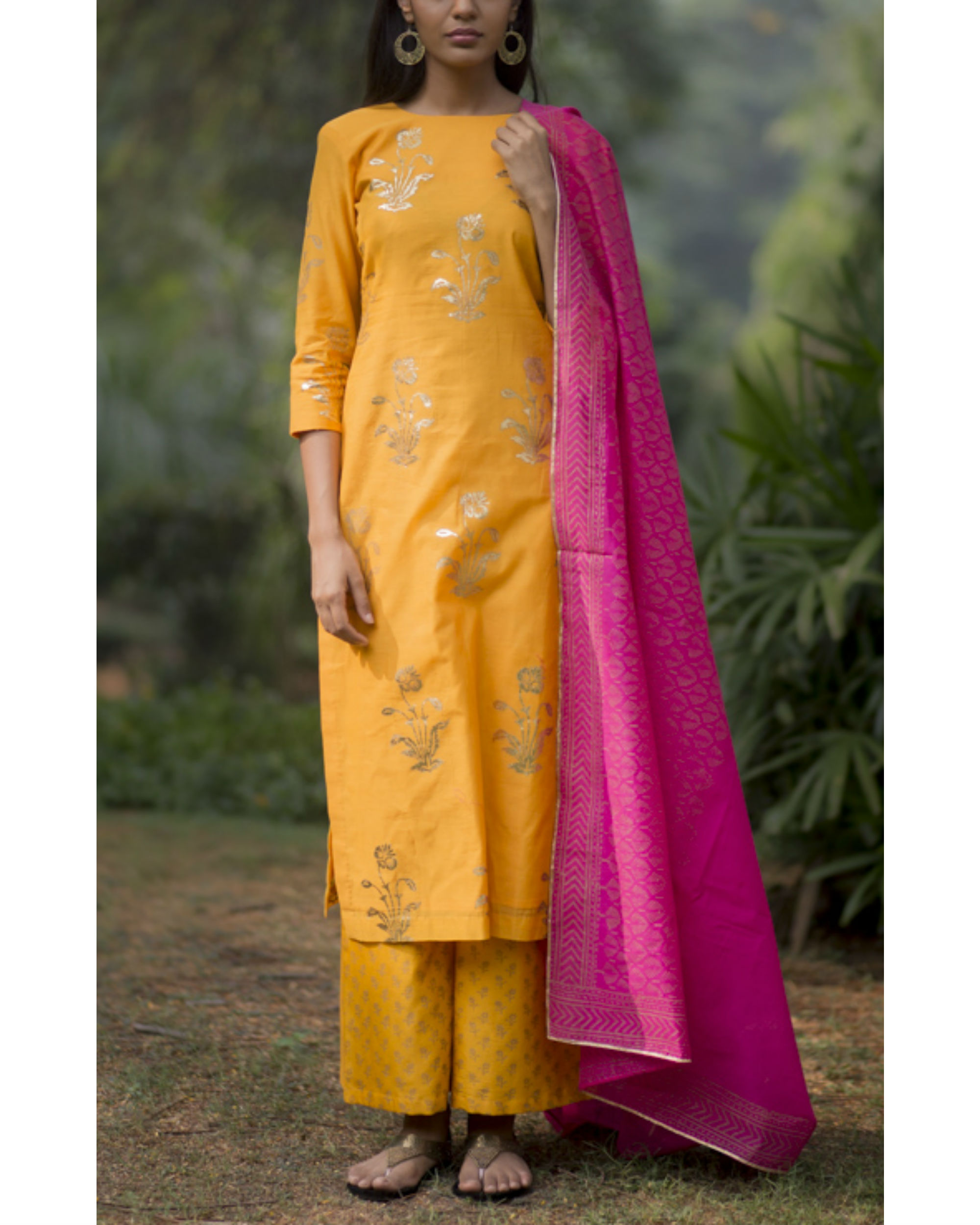 Sunflower kurta palazzo set  with gulaabo block printed dupatta