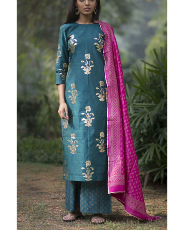 Firoza gulmohar kurta set with dupatta