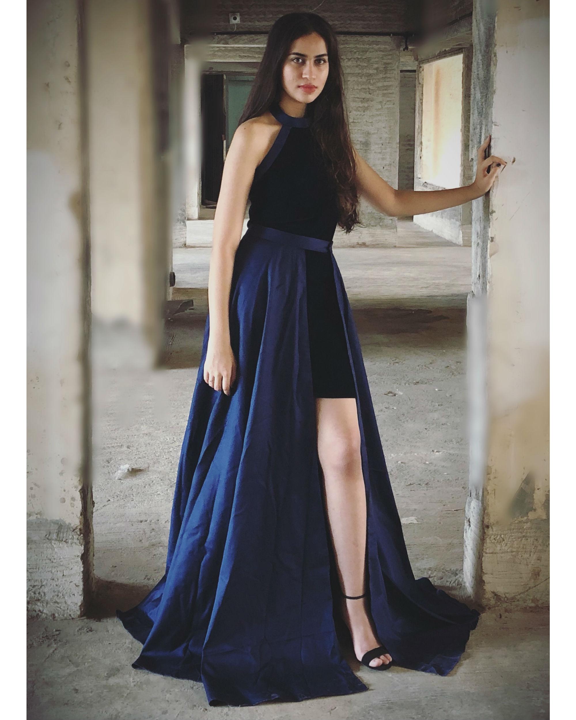 Navy Blue Velvet and twilight blue maxi dress