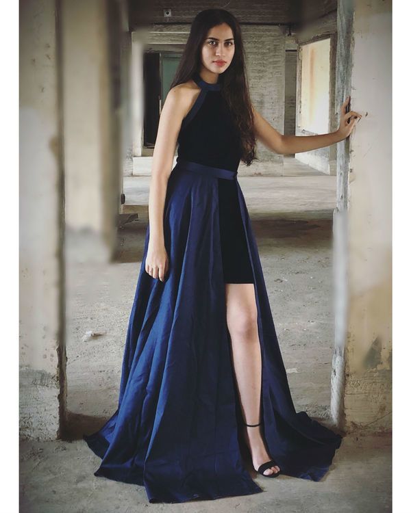 Navy Blue Velvet and twilight blue maxi dress
