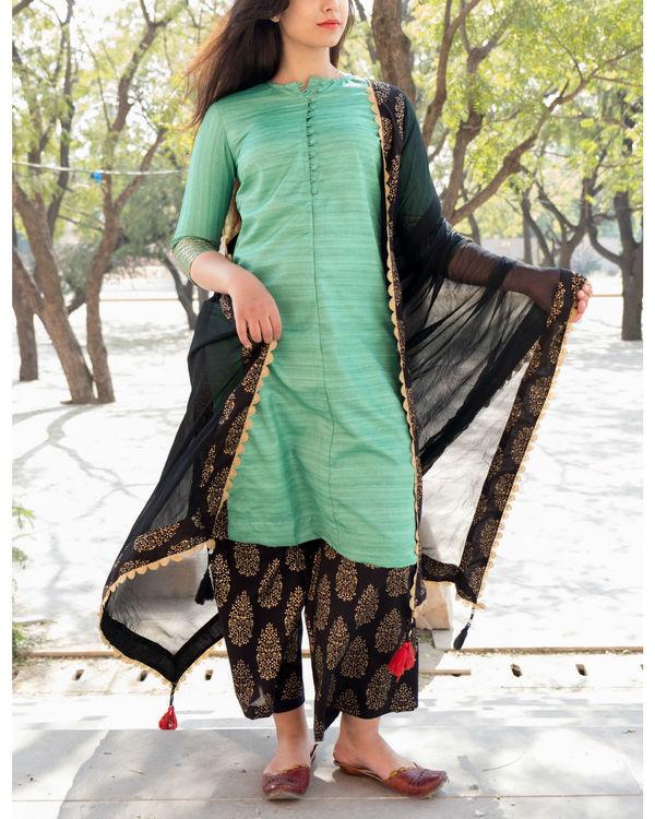 Green and black kurta set with dupatta