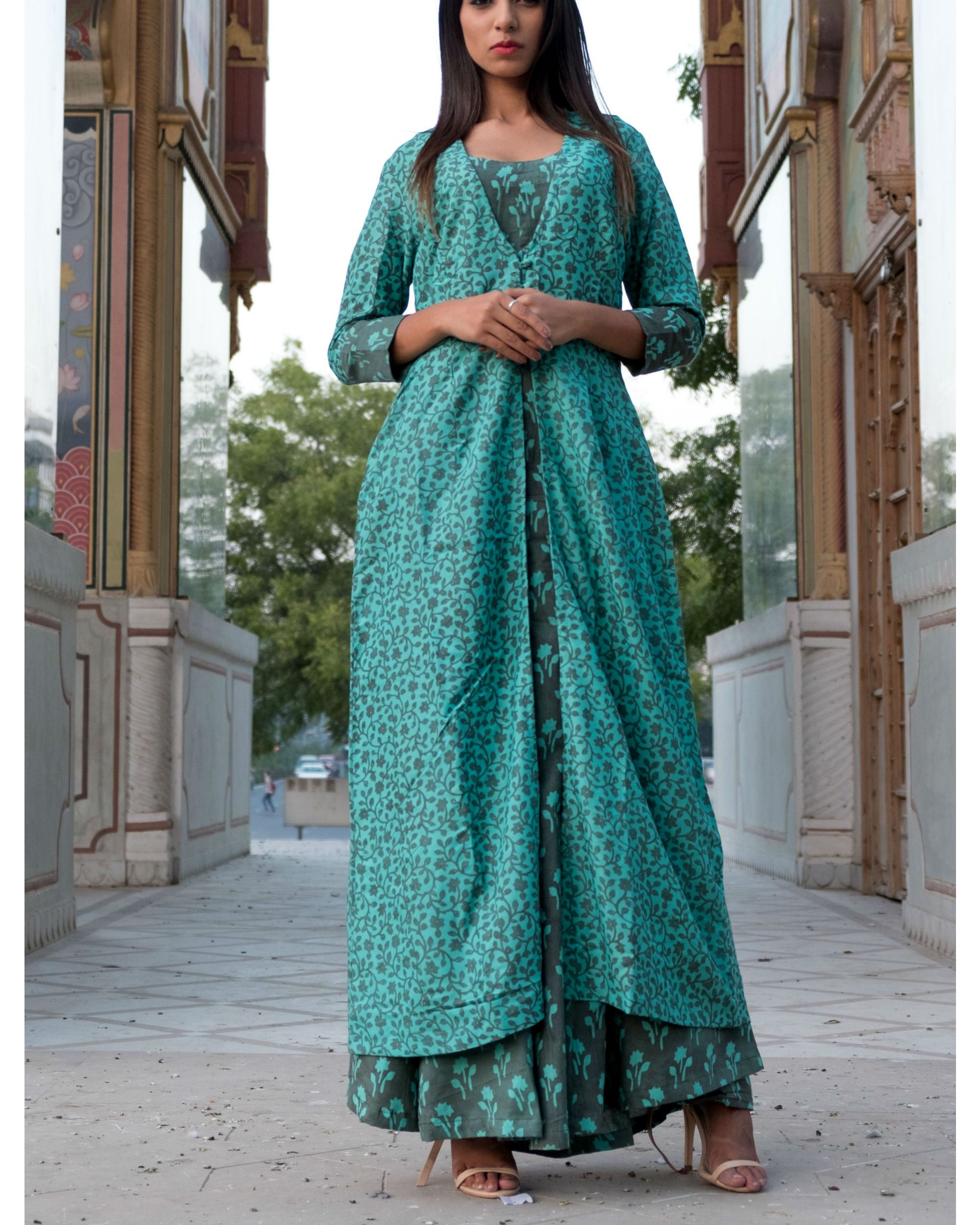 Teal grey printed double layered dress