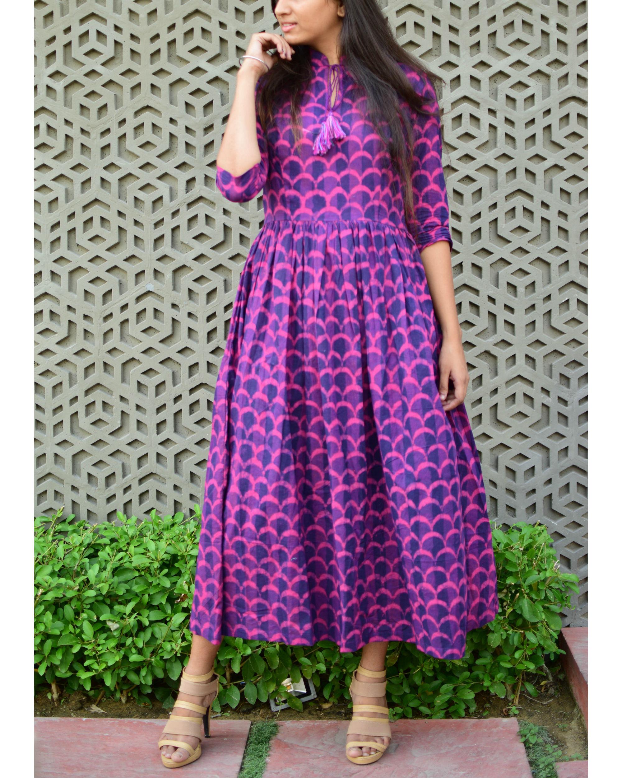 Scale print gathered dress
