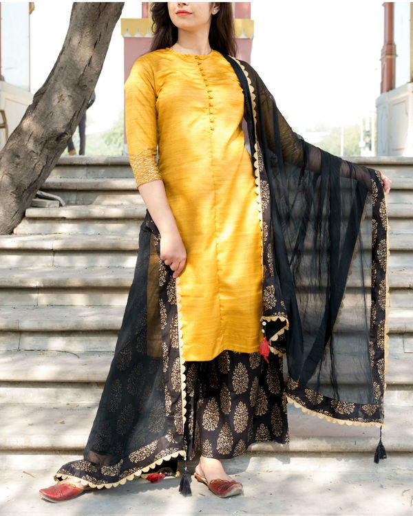 Yellow and black kurta set with dupatta