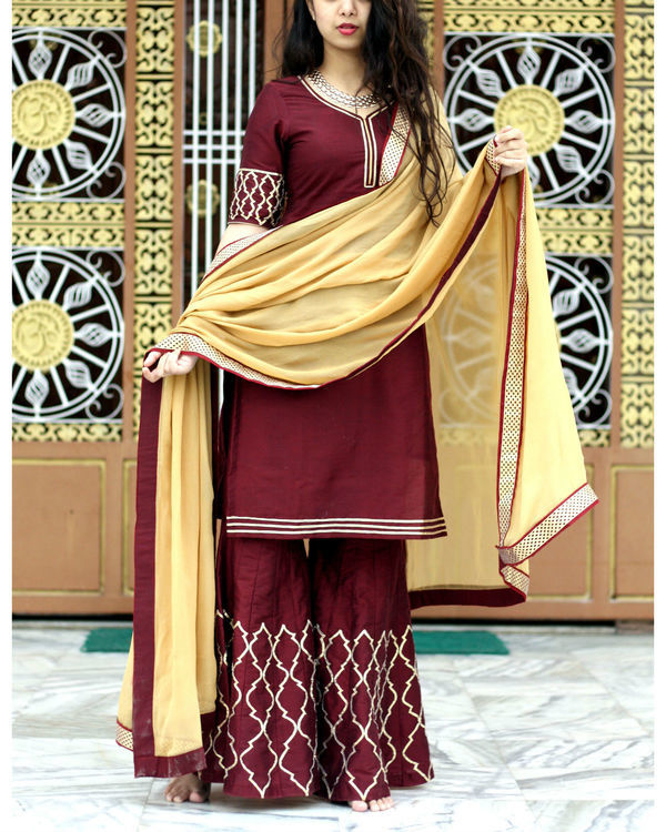 Beige and wine sharara set