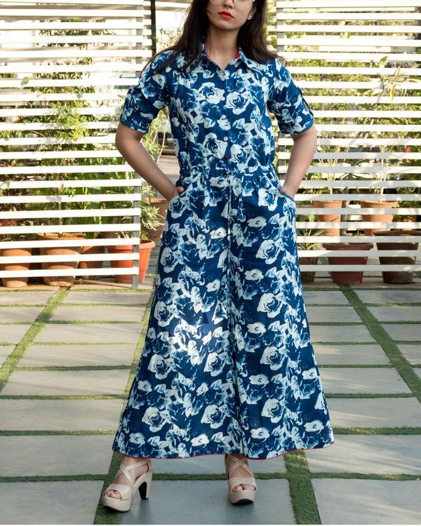 Blue floral flare jumpsuit