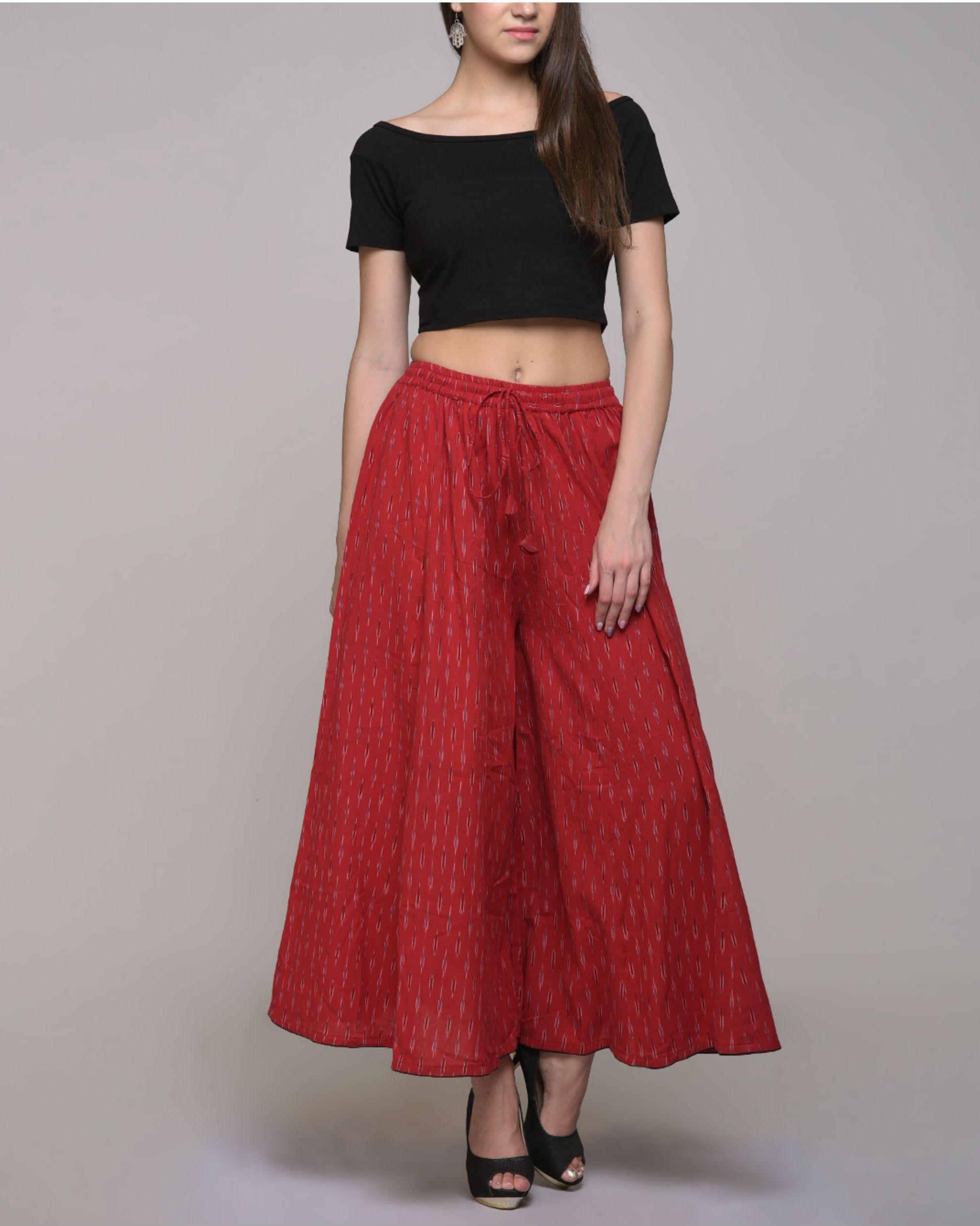 Red ikat  cotton palazzo pant