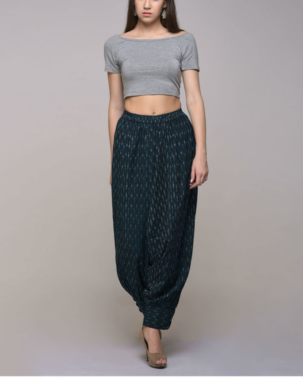 Green ikat cotton harem pant with cuff