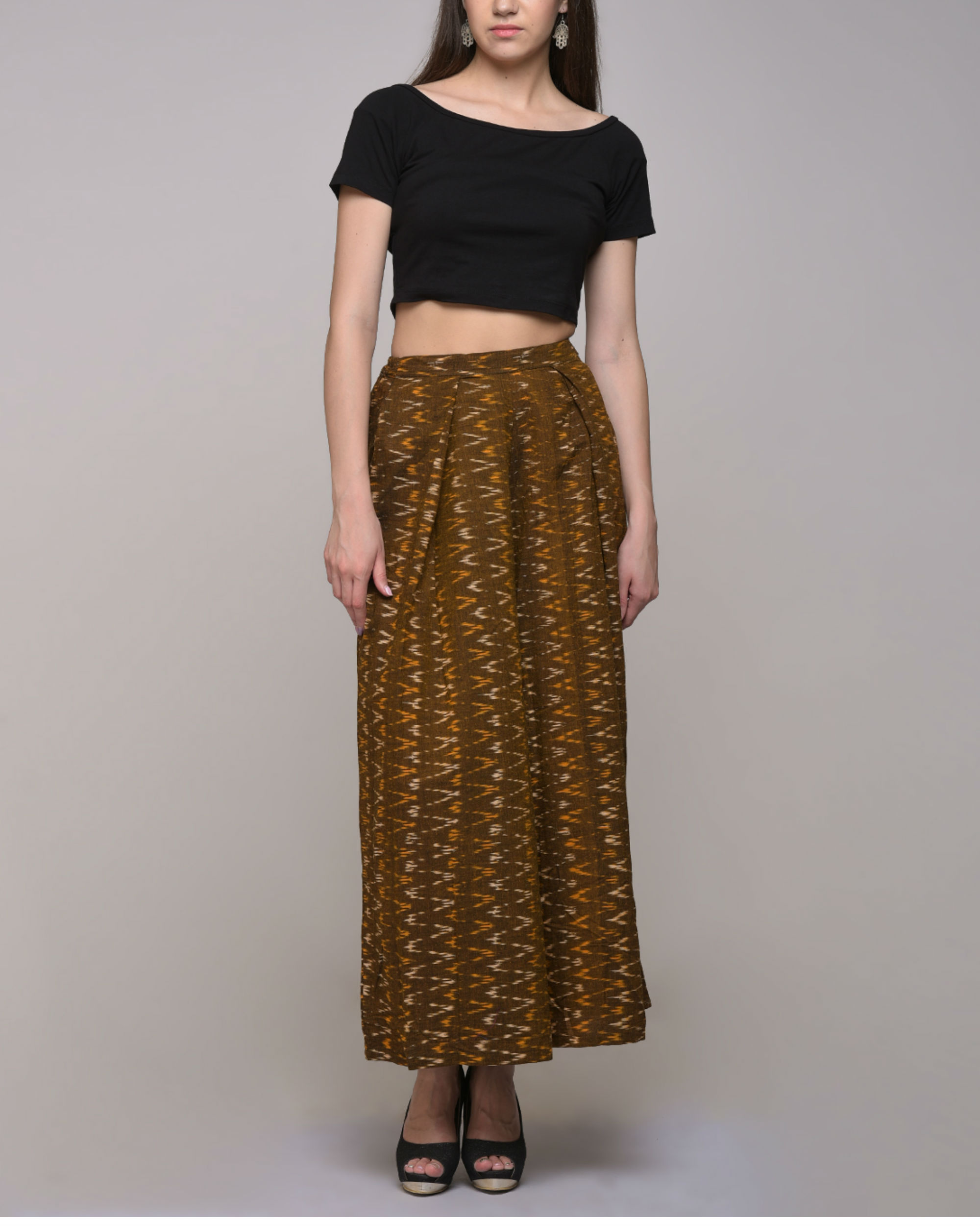 Chevron cotton ikat pleated pant
