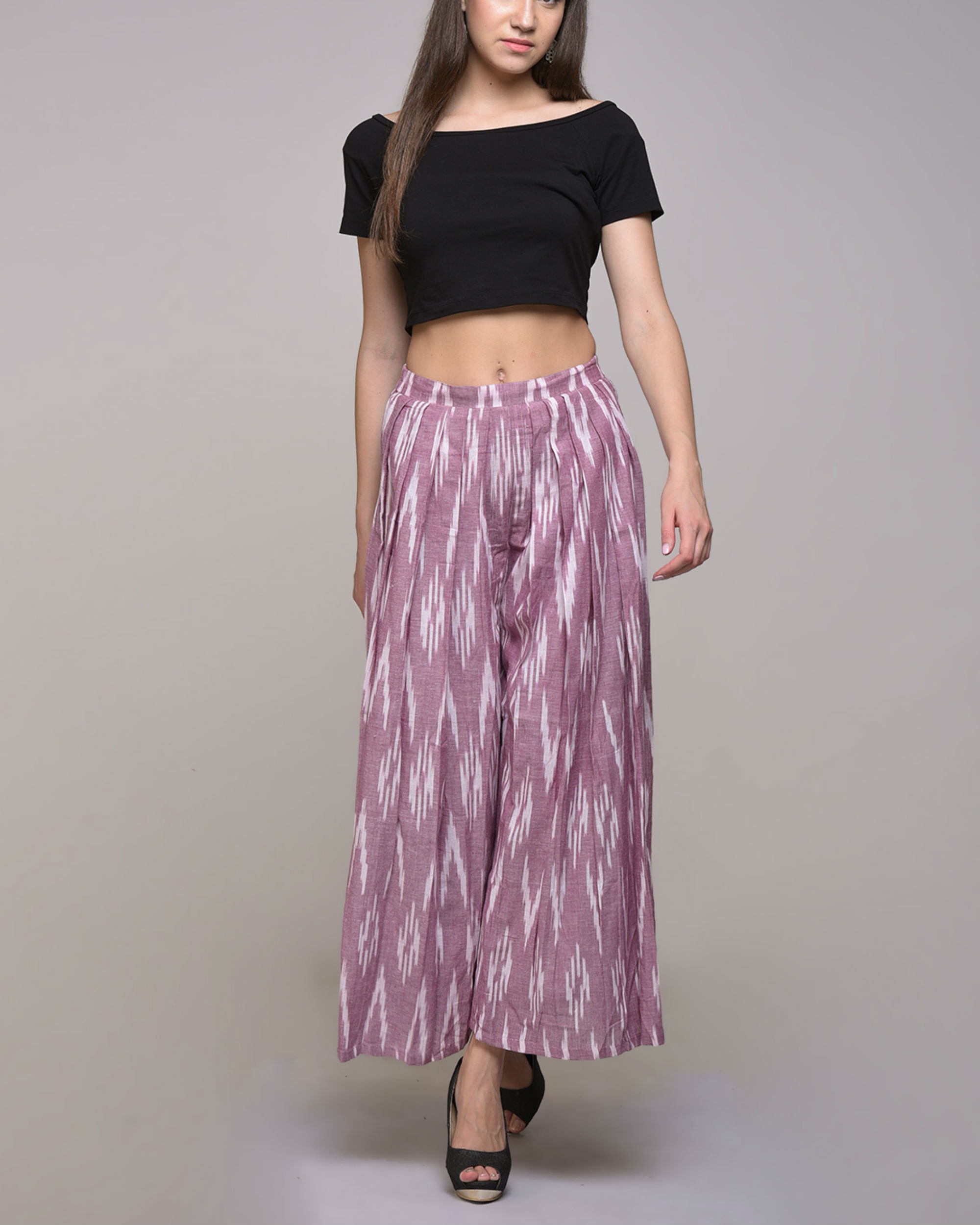 Pink ikat pleated cotton pant