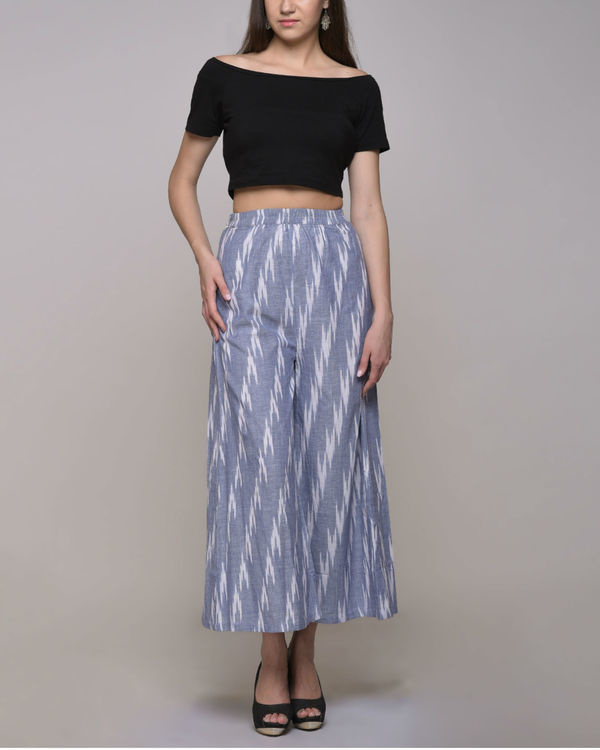 Blue ikat cotton pleated pant