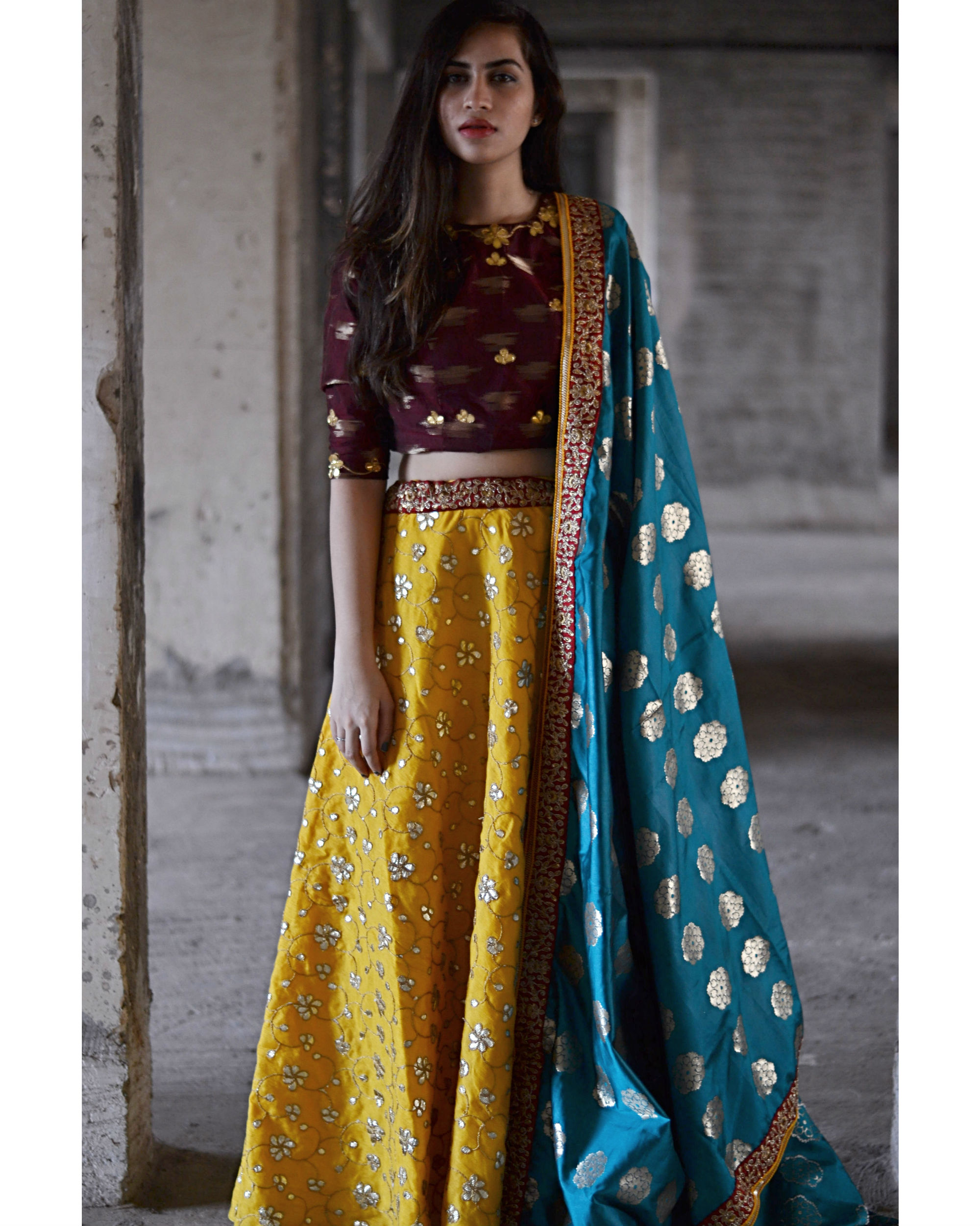 Maroon and queen gold yellow ghagra set