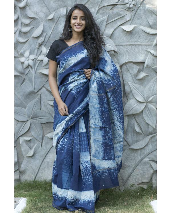 Shades of indigo checked sari