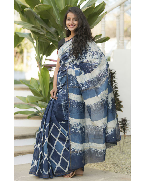 Indigo diamond sari