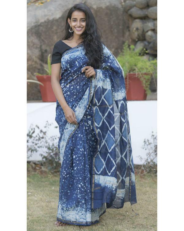 Indigo blue dotted sari