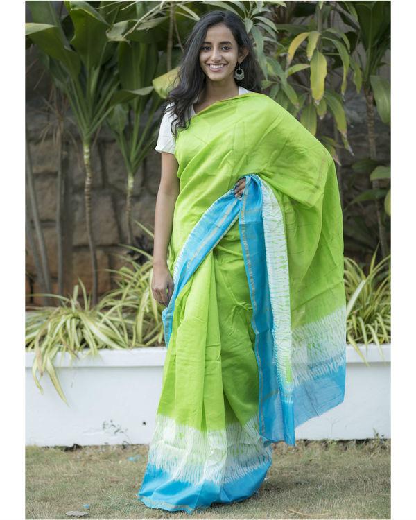 Blue green tie dye sari