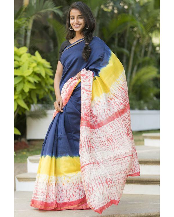 Multi bordered navy sari