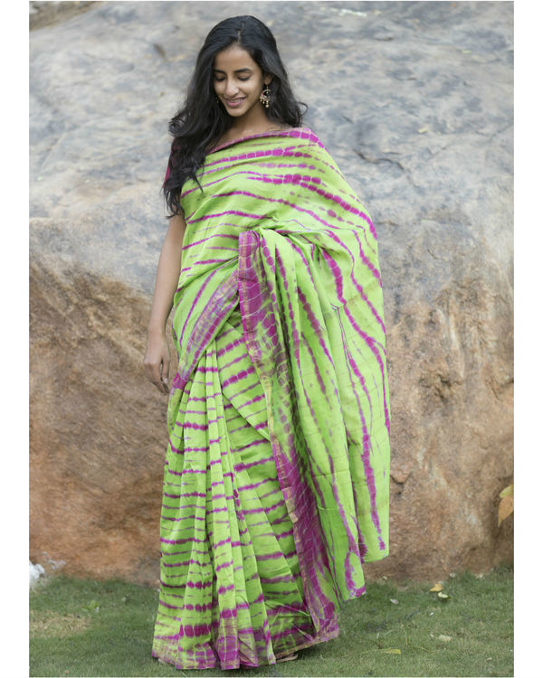 Parrot green and pink chanderi sari