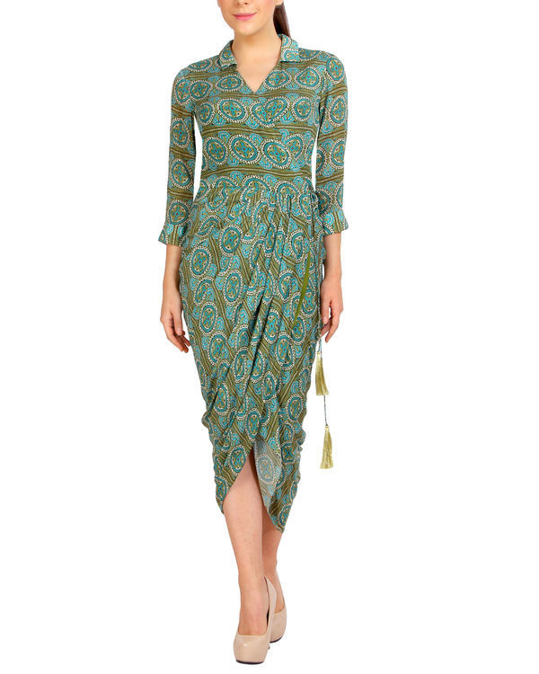 Green printed dhoti dress
