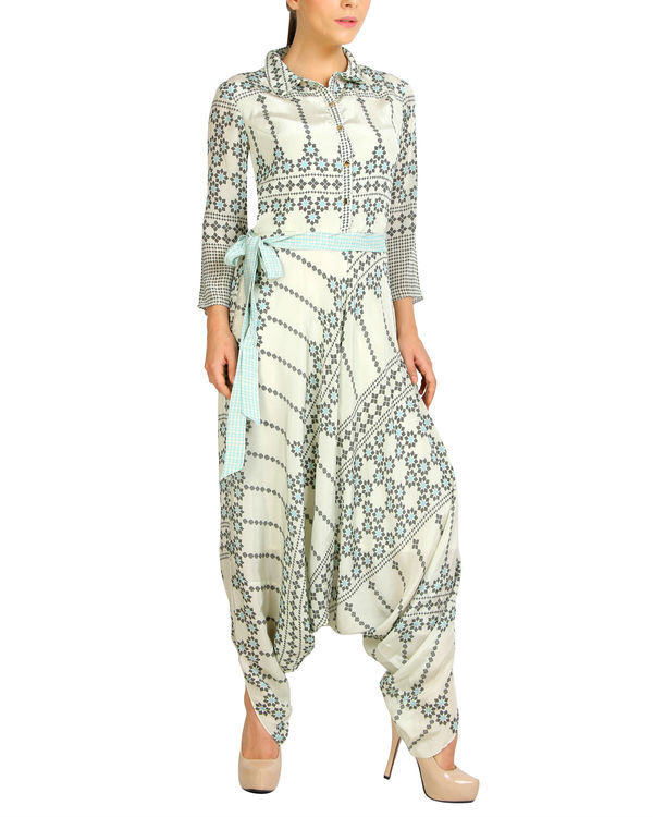 White and blue harem jumpsuit