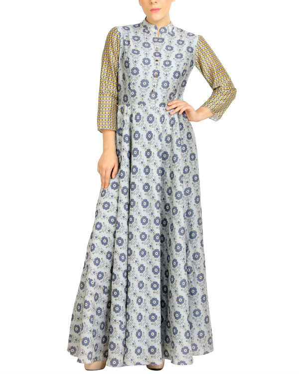Flared grey printed maxi