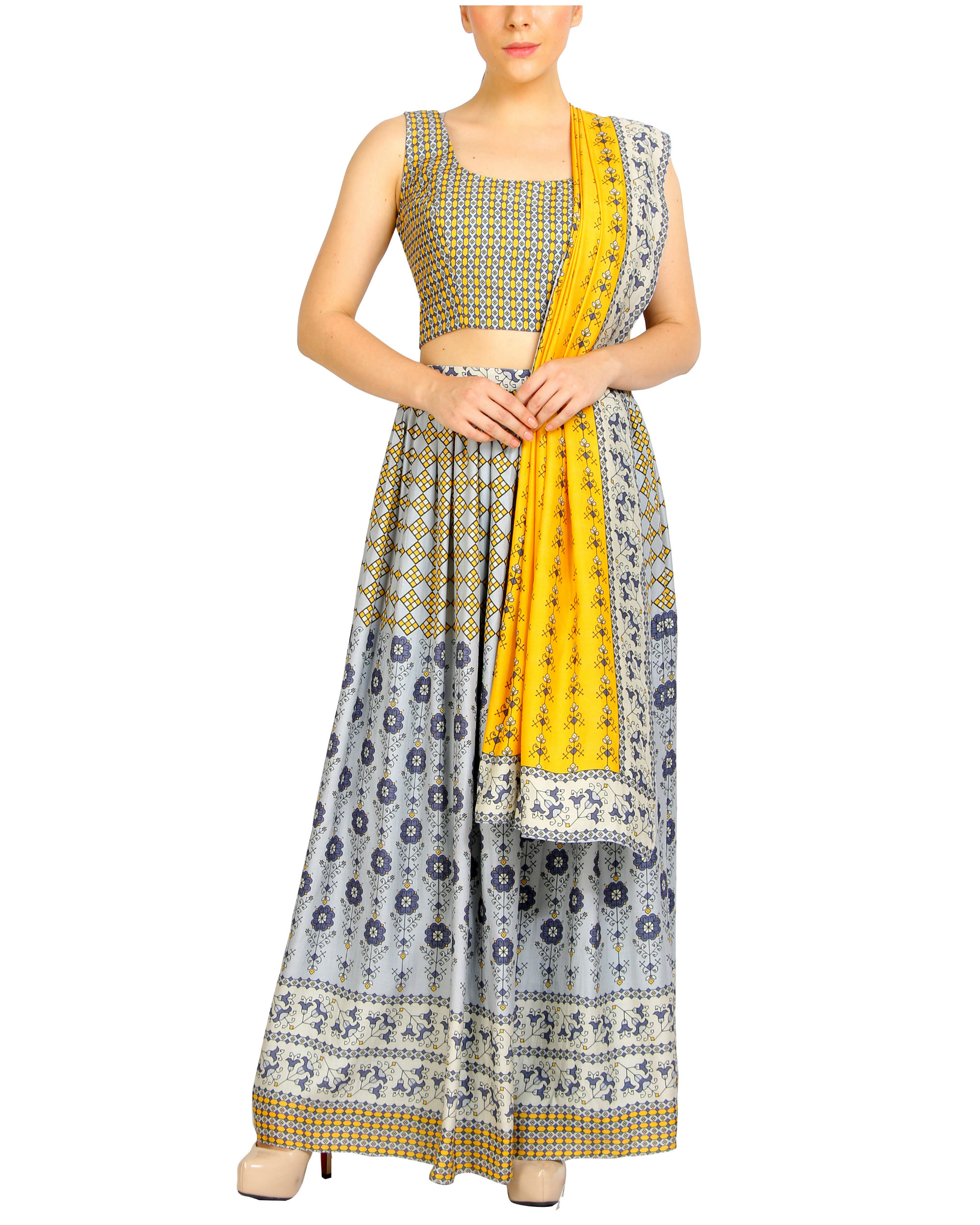 Mustard and grey lehenga set