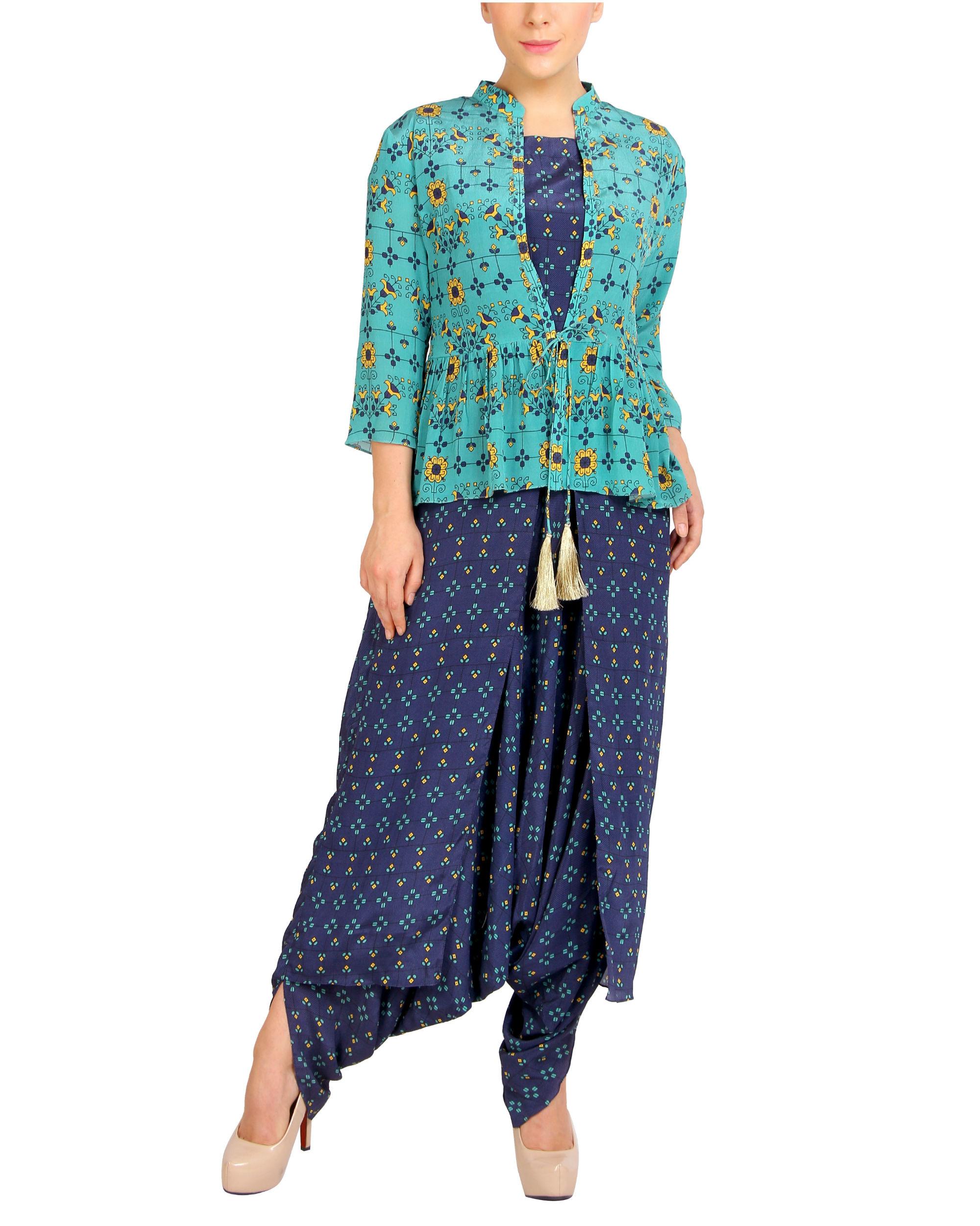 Blue harem jumpsuit with ruffled jacket