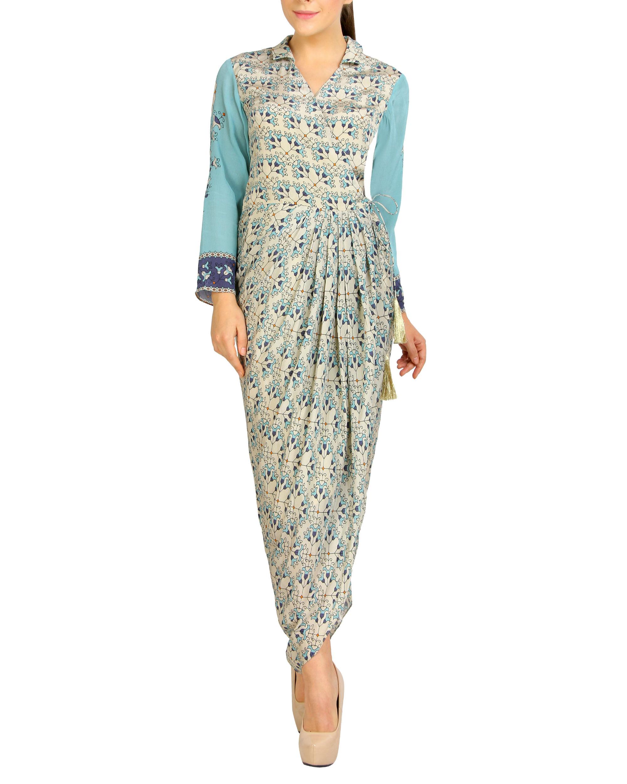 Off-white dhoti flap dress
