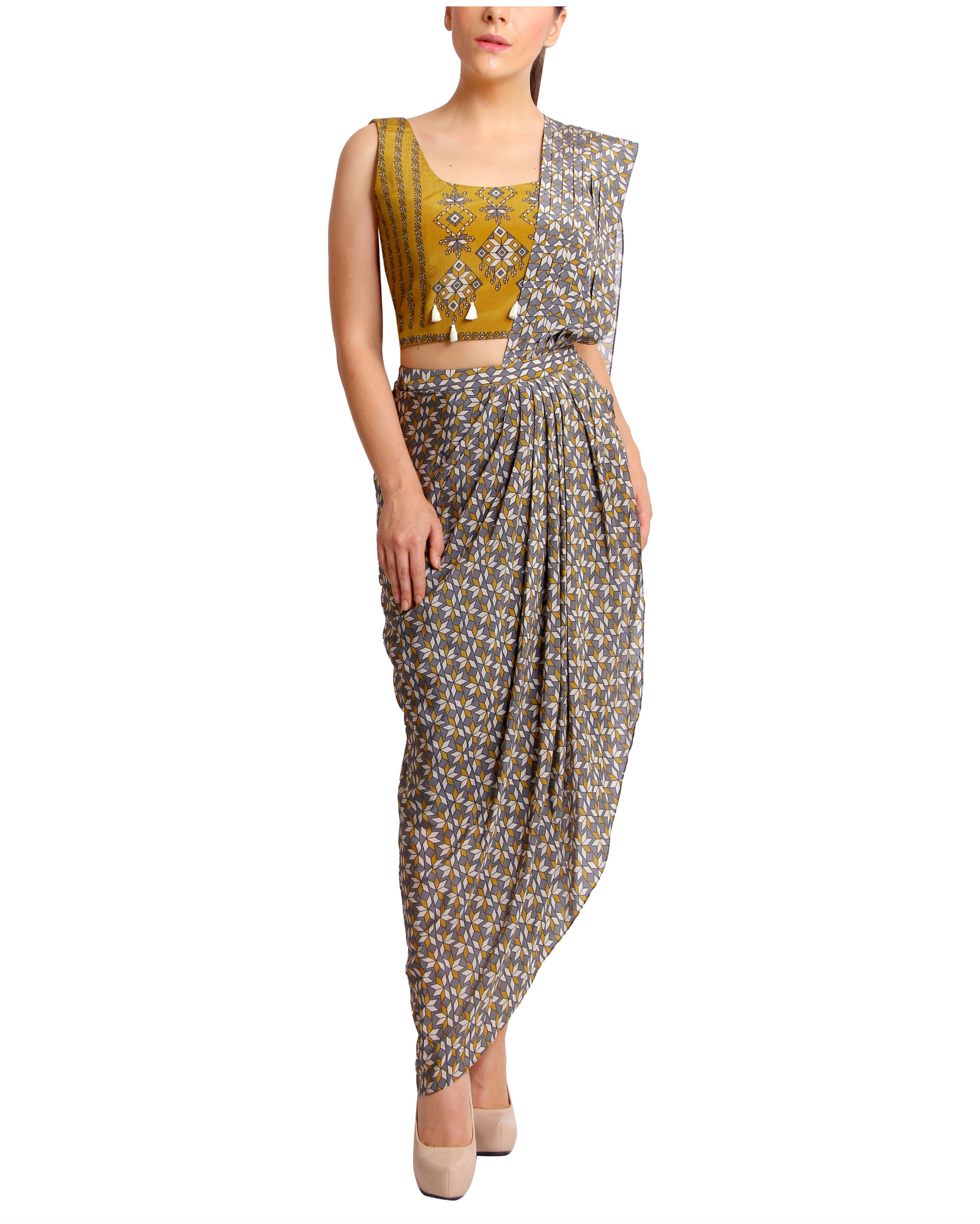 Mustard and grey draped sari
