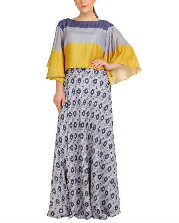 Multi colored cape dress