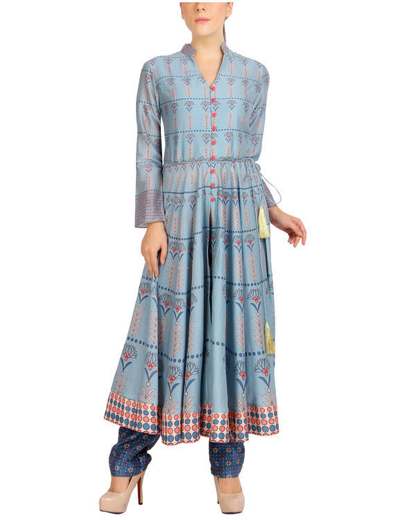 Flared blue tasseled kurta set