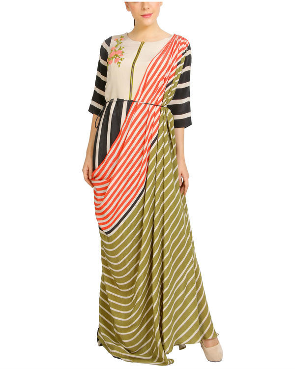 Multi colored draped dress