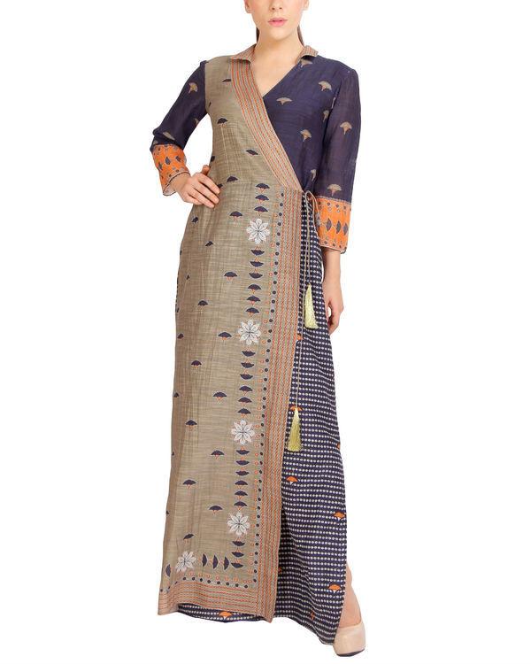 Charcoal flap dress with tassels