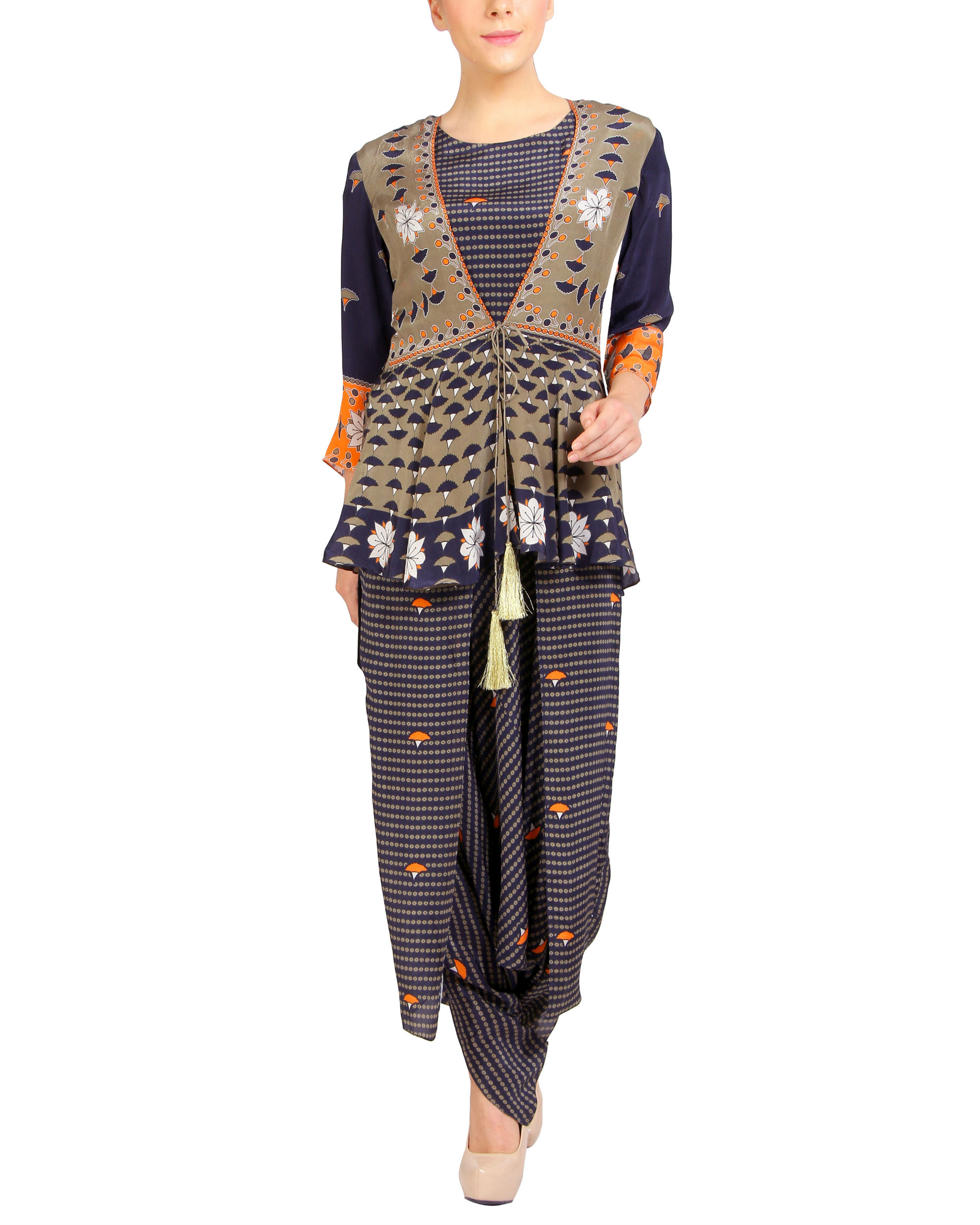 Navy printed ruffled dhoti jumpsuit