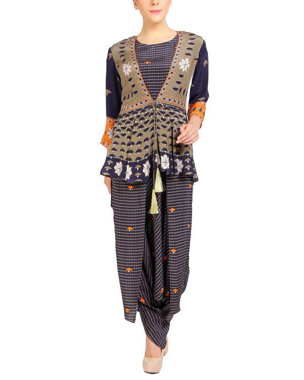 Navy printed ruffled dhoti jumpsuit