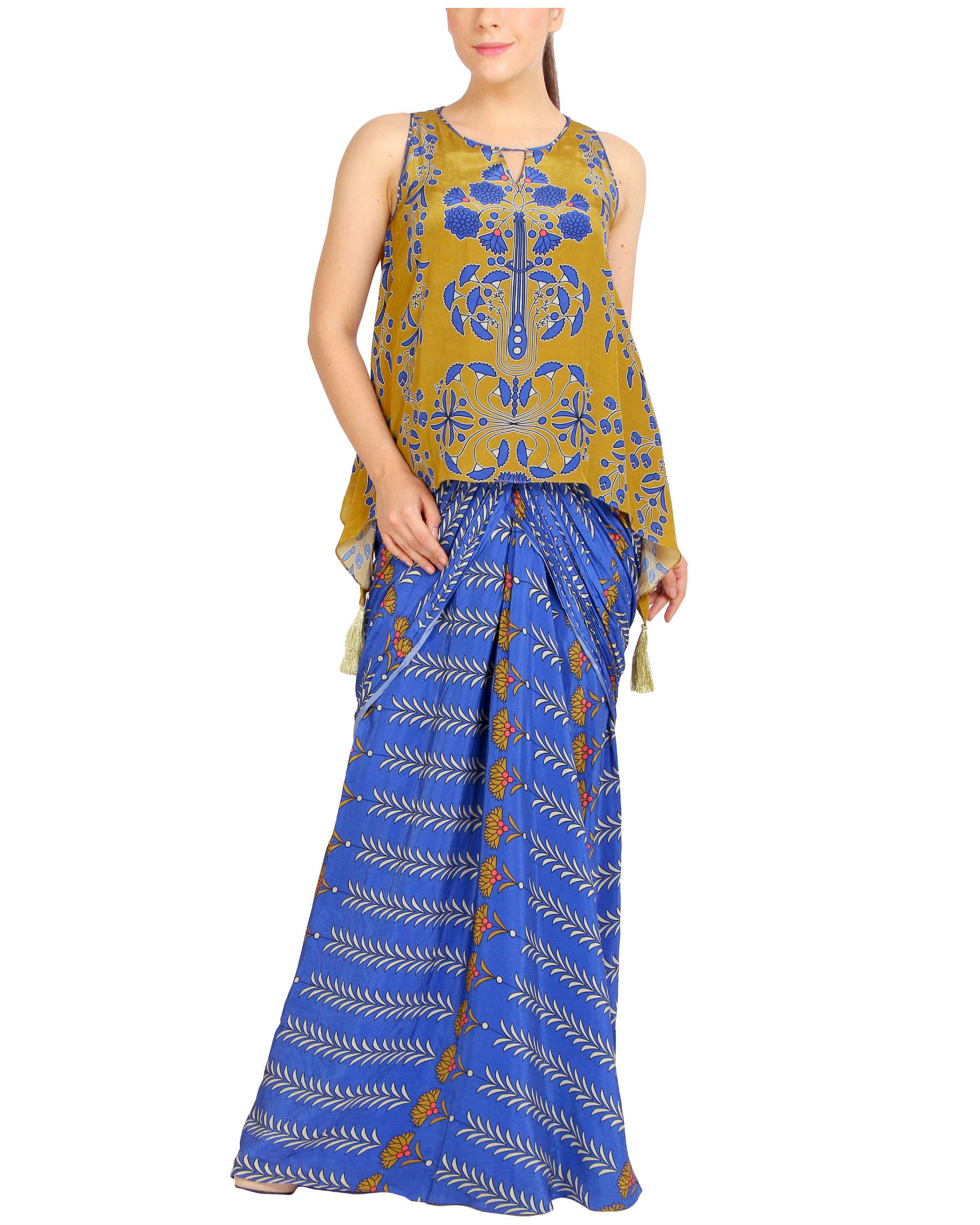 Blue and mustard draped set