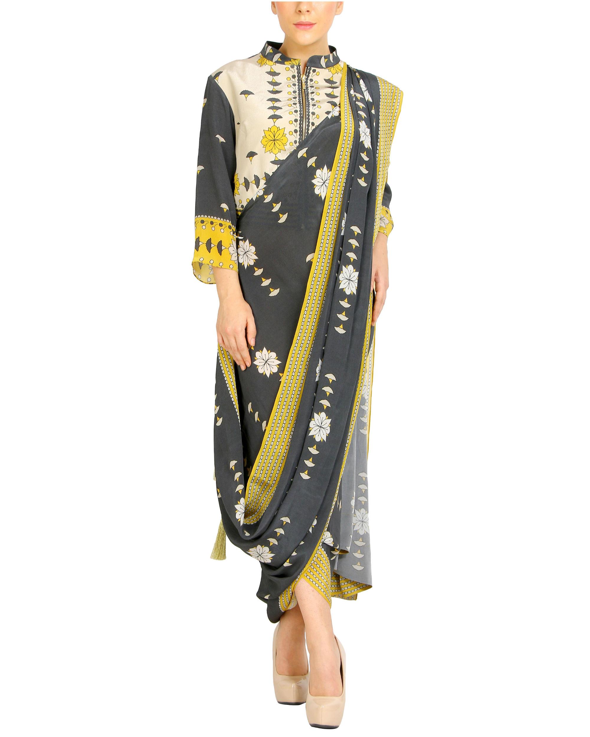 Charcoal printed draped sari