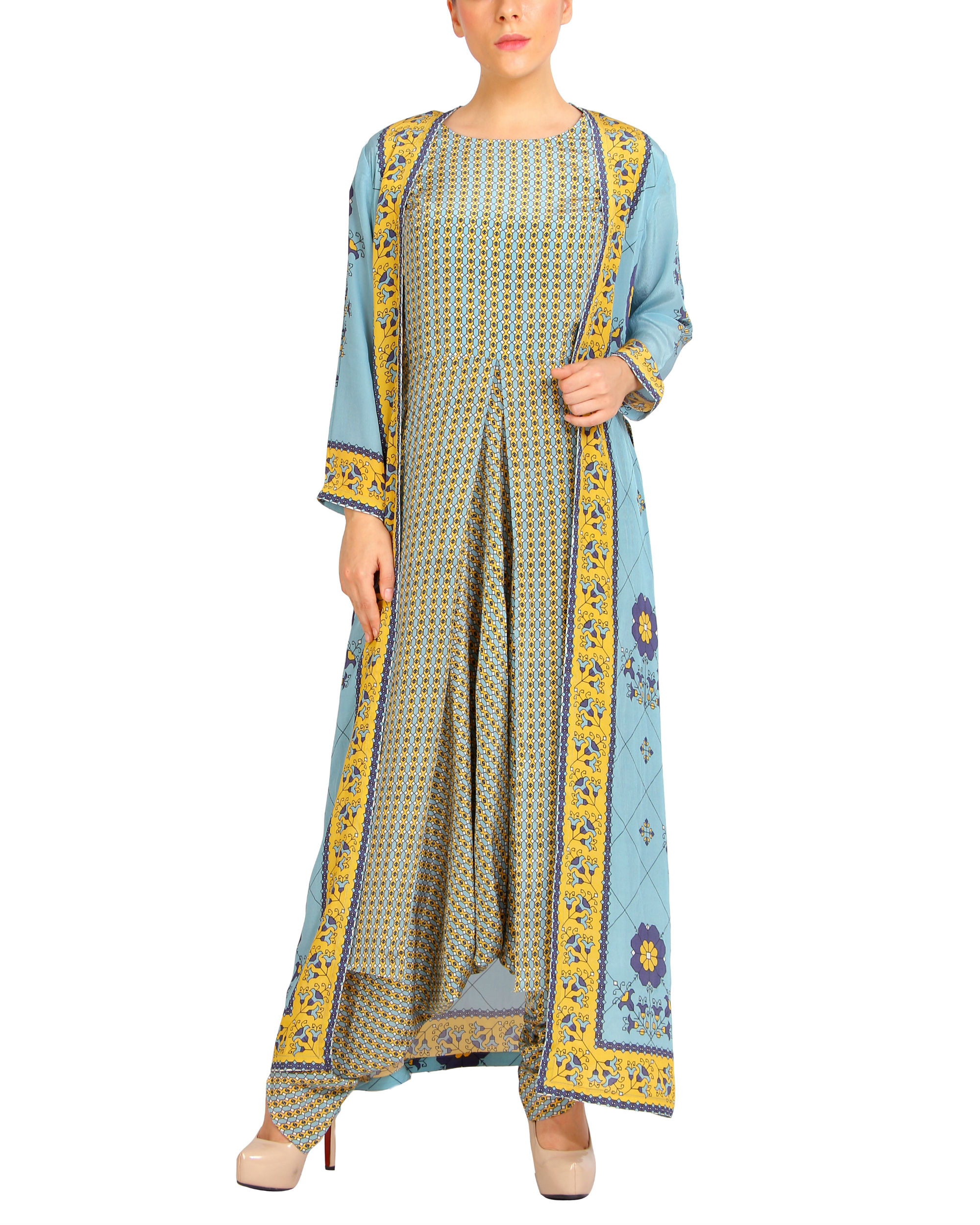 Sky blue and yellow harem printed jumpsuit