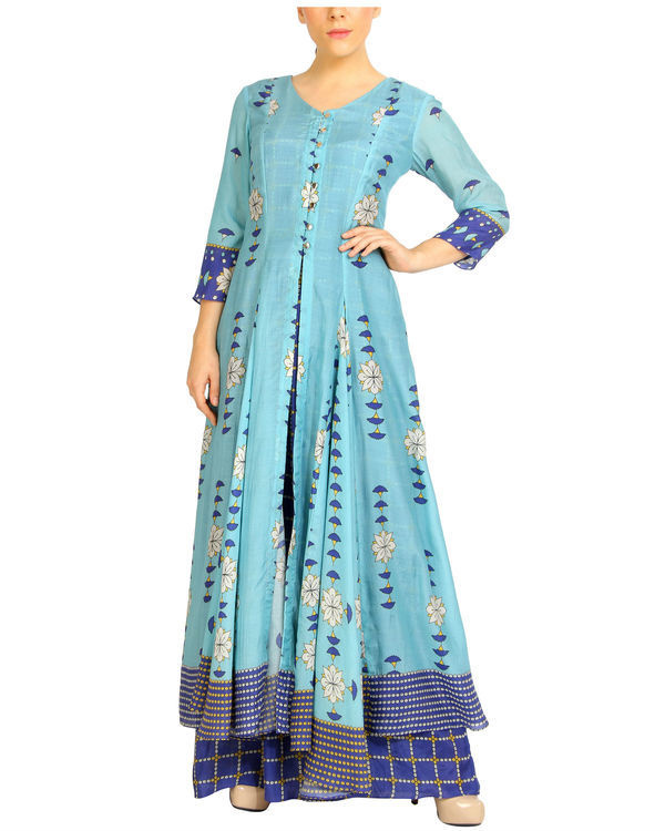 Shades of blue double layered dress