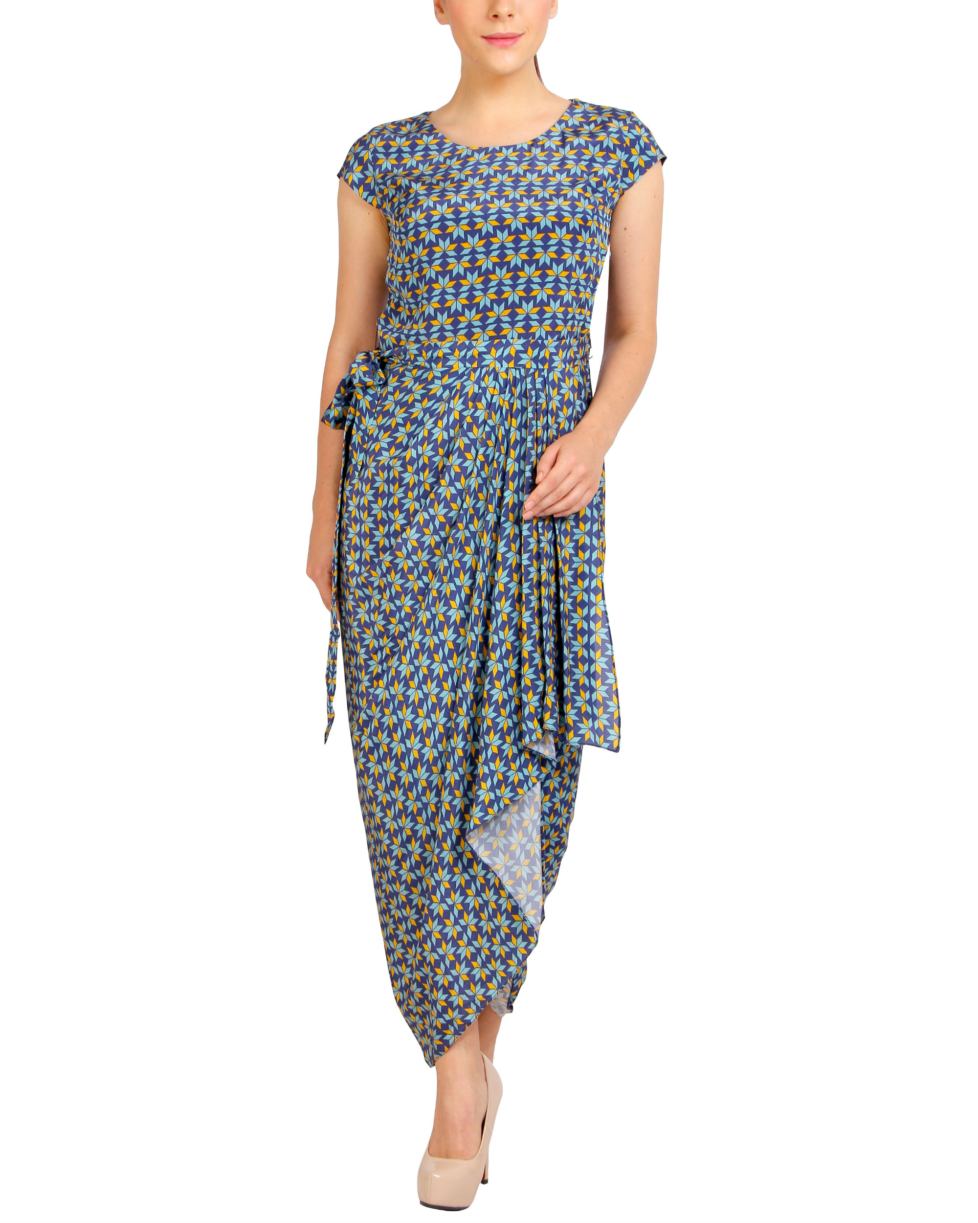 Blue printed dhoti dress
