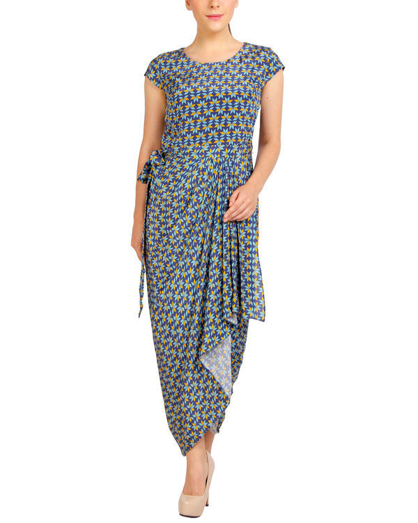 Blue printed dhoti dress
