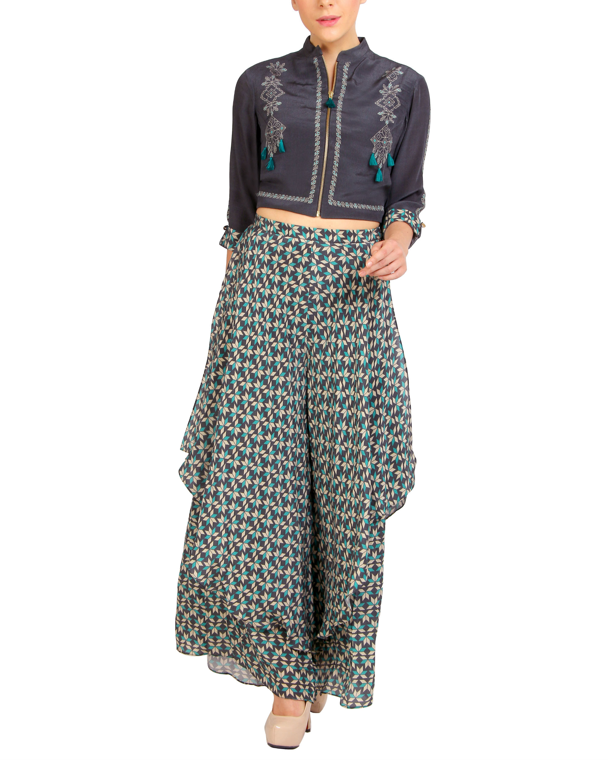 Tasseled zipper top with printed pants